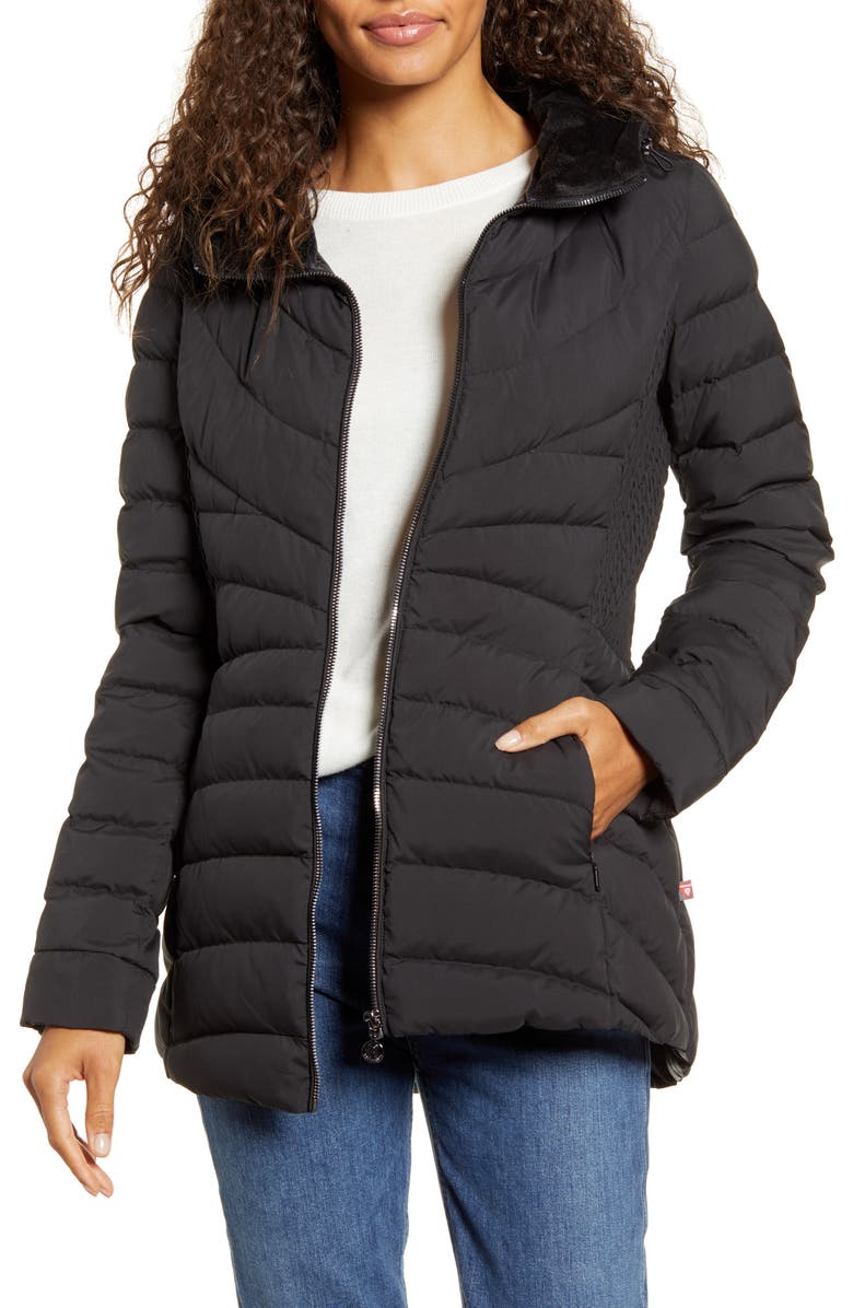 BERNARDO Down & PrimaLoft<sup>®</sup> Walker Jacket with Faux Fur Trim, Main, color, BLACK