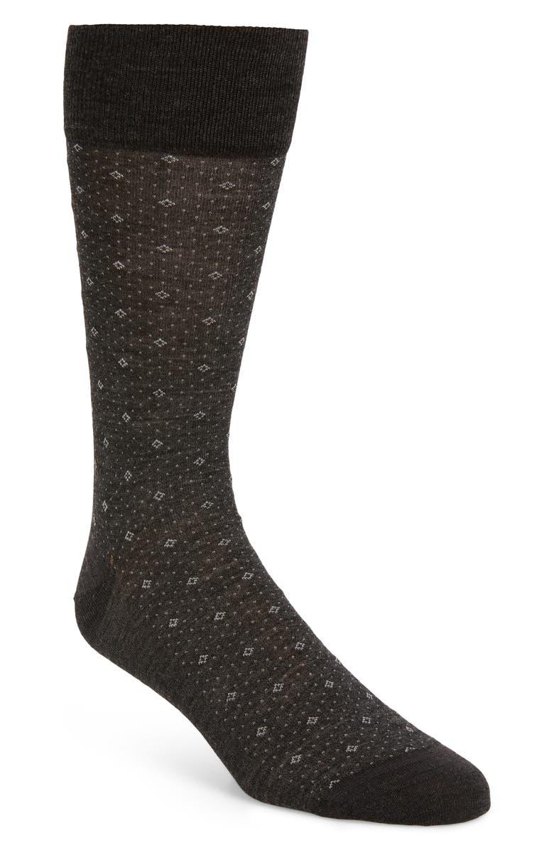 NORDSTROM SIGNATURE Nordstrom Men's Shop Diamond Socks, Main, color, GREY CHARCOAL