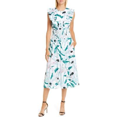 Tory Burch Floral Print Smocked Midi Dress, Ivory