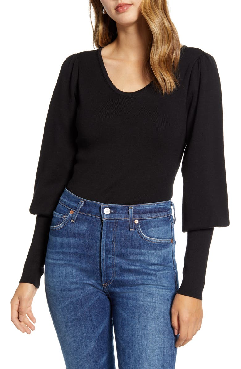RACHEL PARCELL Juliet Sleeve Sweater, Main, color, 001