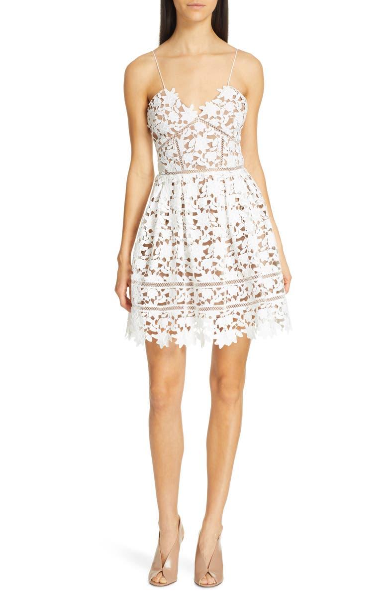SELF-PORTRAIT Azalea Lace Fit & Flare Minidress, Main, color, WHITE