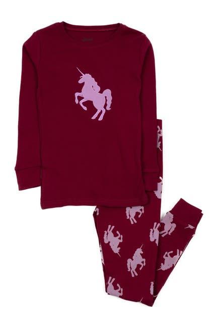 Image of Leveret Maroon Unicorn Cotton Pajamas