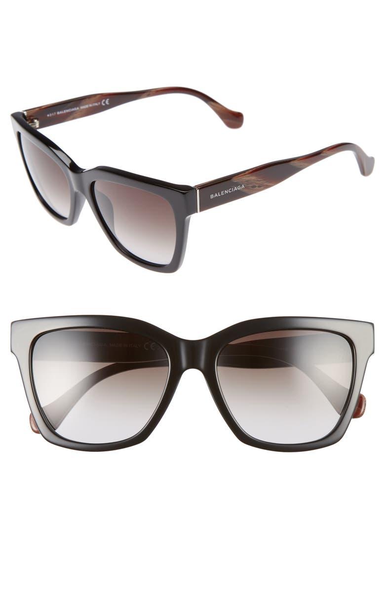 BALENCIAGA 55mm Sunglasses, Main, color, 001