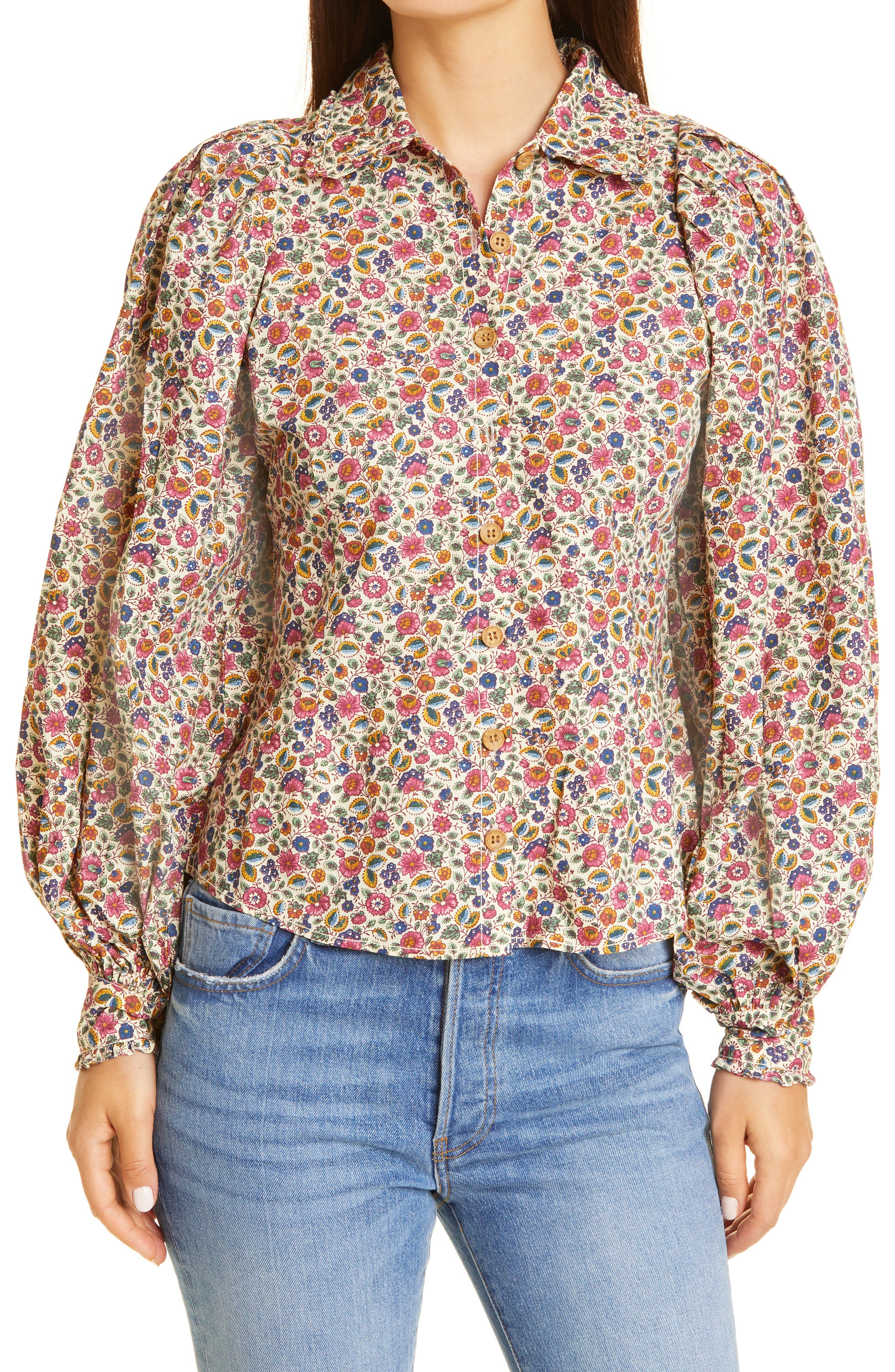 '50S Floral Ditsy Cotton Shirt