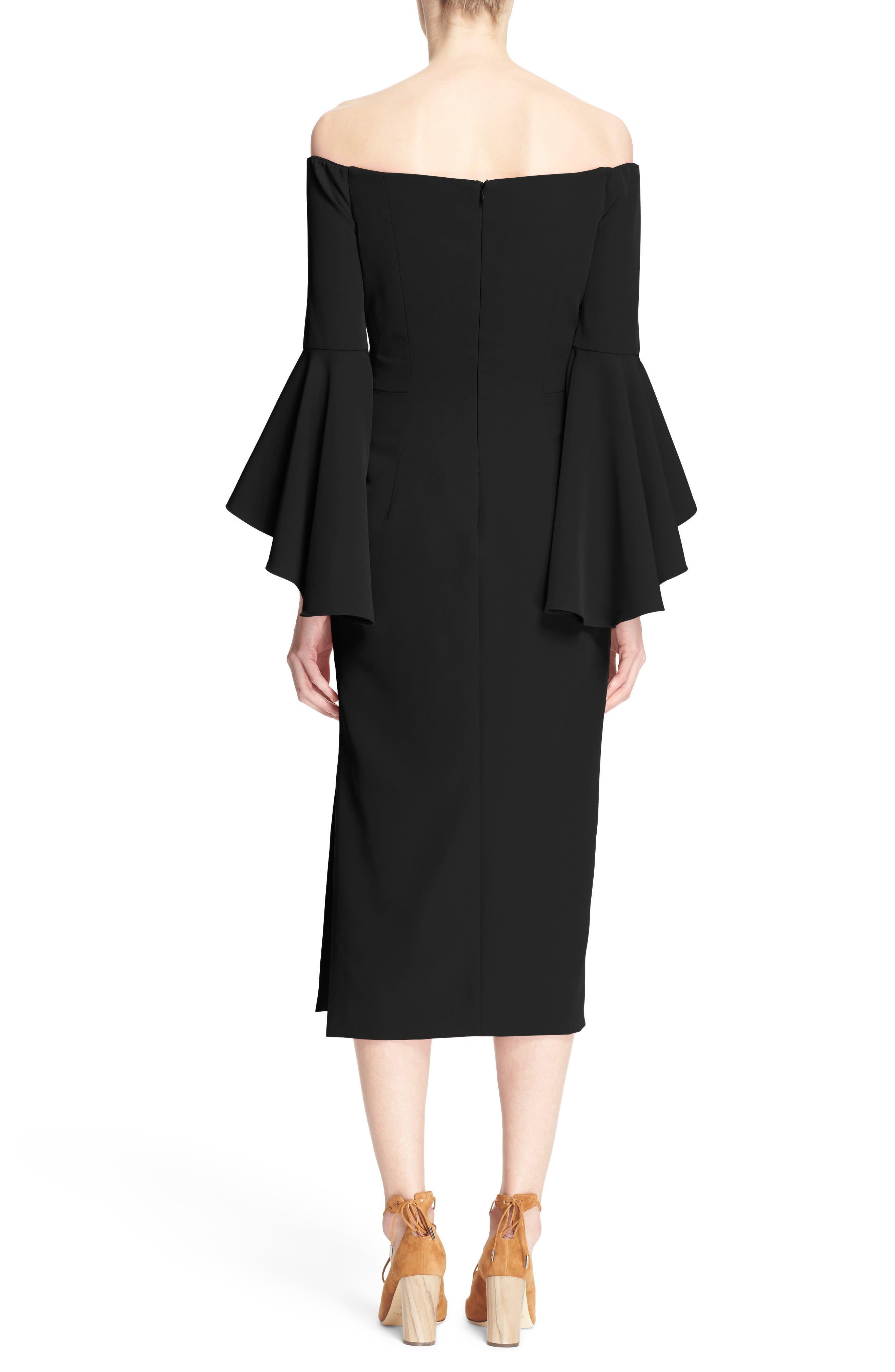 ,                             Selena Off the Shoulder Midi Dress,                             Alternate thumbnail 8, color,                             001