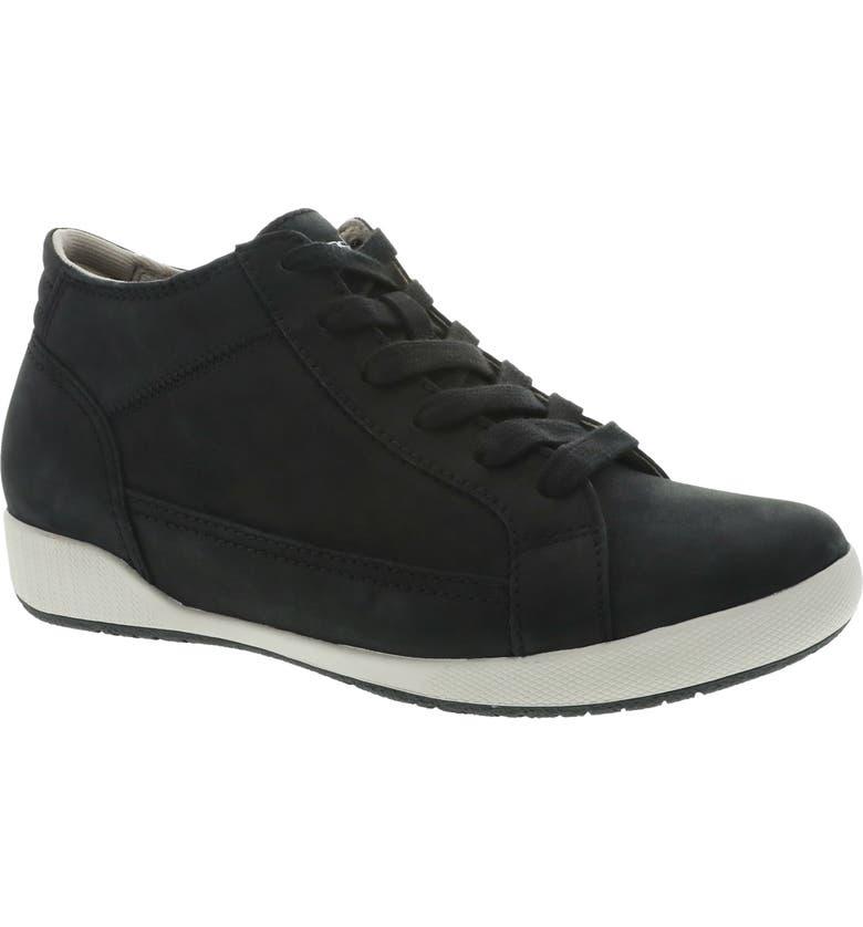 DANSKO Onyx Mid Top Sneaker, Main, color, BLACK MILLED NUBUCK LEATHER