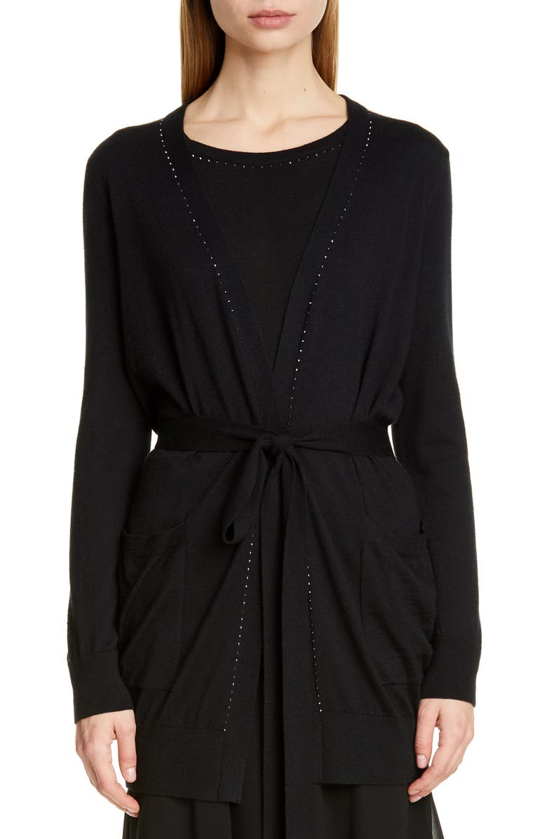 MAX MARA Calia Silk & Cashmere Cardigan, Main, color, BLACK