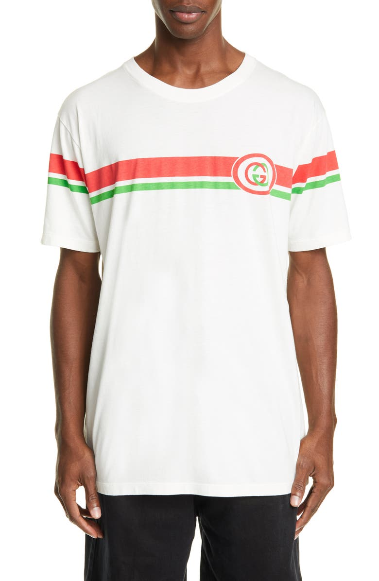 GUCCI Oversize Logo T-Shirt, Main, color, MILK/ GREEN/ RED