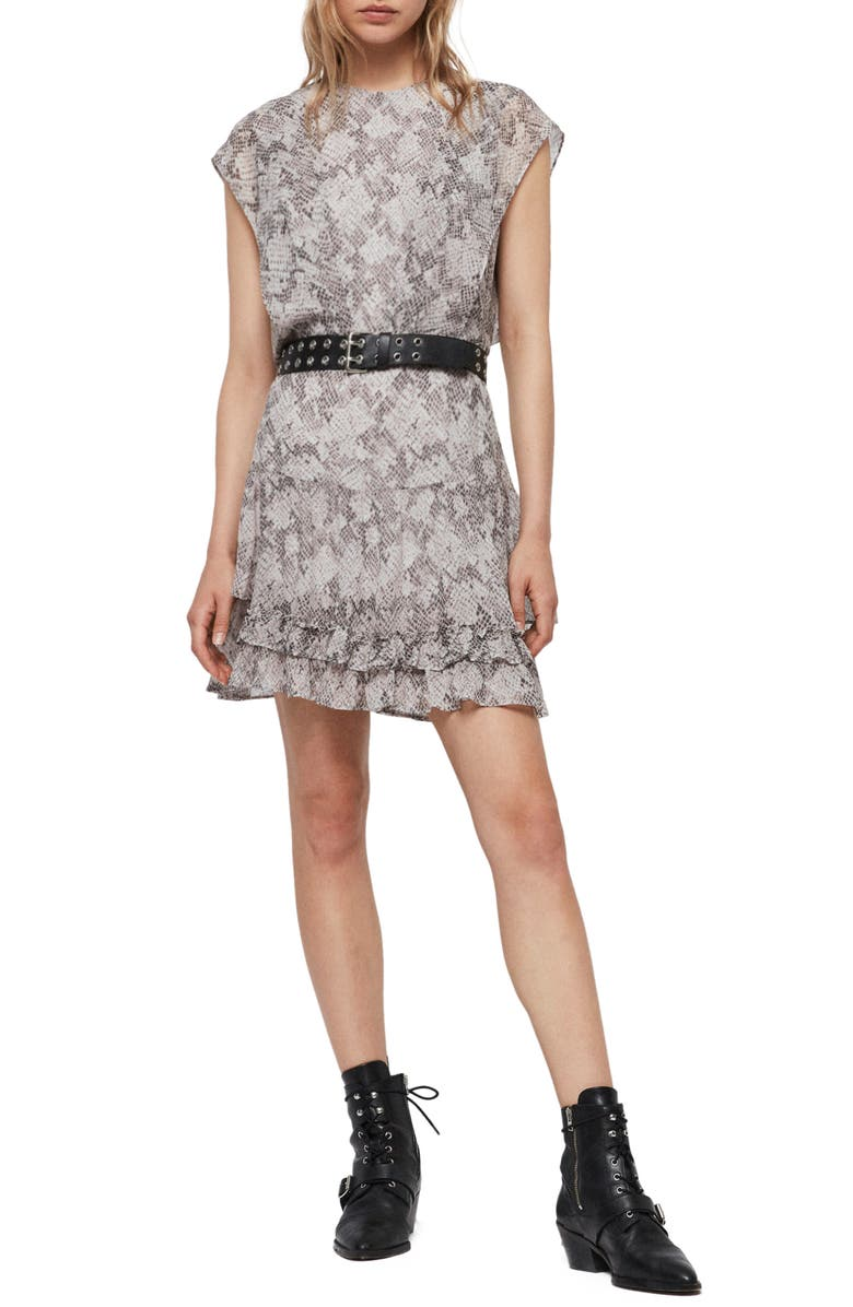 ALLSAINTS Evely Midgard Snakeskin Print Dress, Main, color, GREY