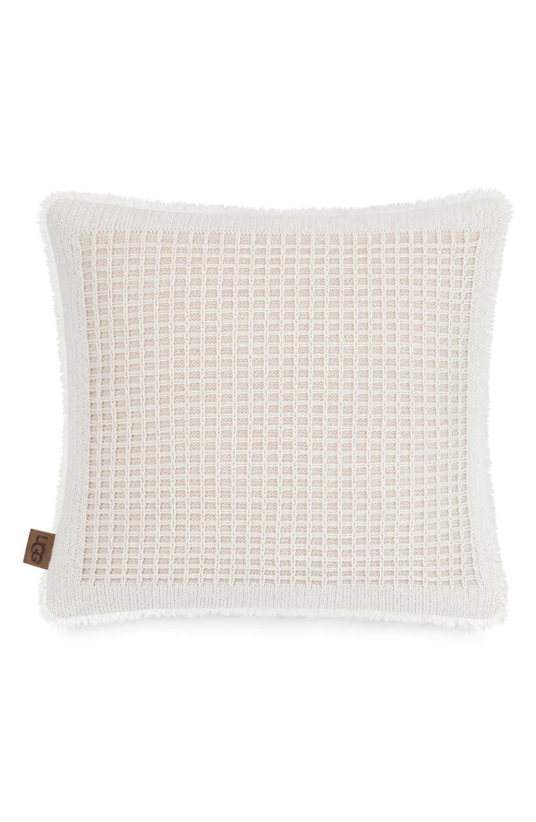 UGG<SUP>®</SUP> Martin Knit Accent Pillow, Main, color, LIGHT SAND/ SNOW