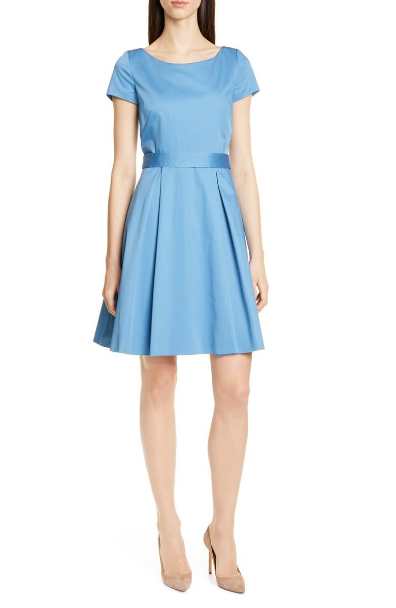 BOSS Dalene Fit & Flare Dress, Main, color, ZIRCON BLUE