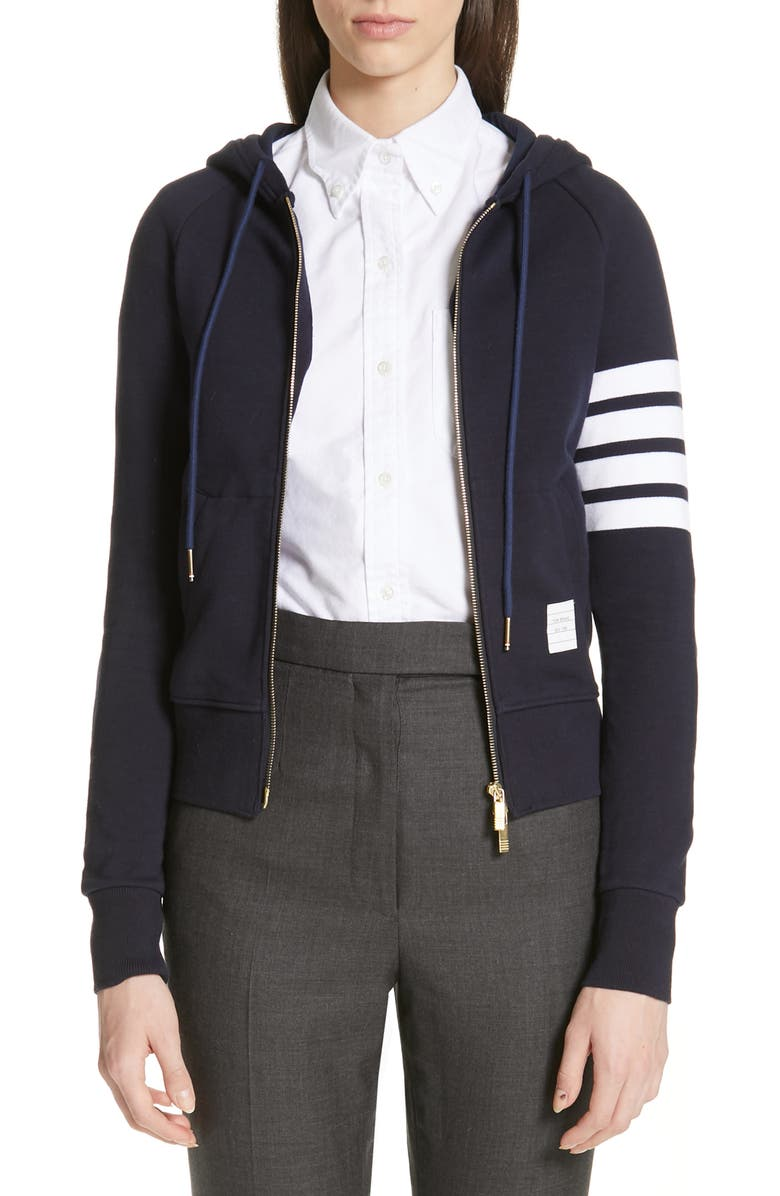 THOM BROWNE 4-Bar Cotton Hoodie, Main, color, NAVY