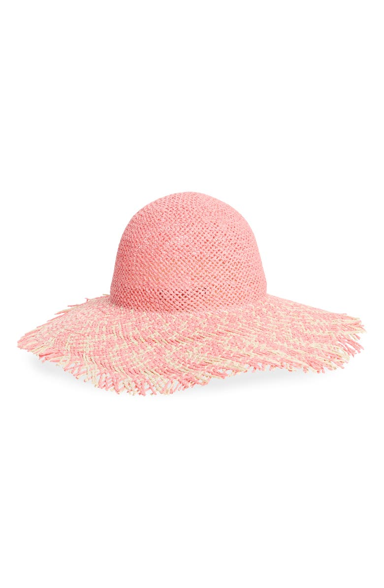 TROUVÉ Frayed Brim Straw Sun Hat, Main, color, PINK