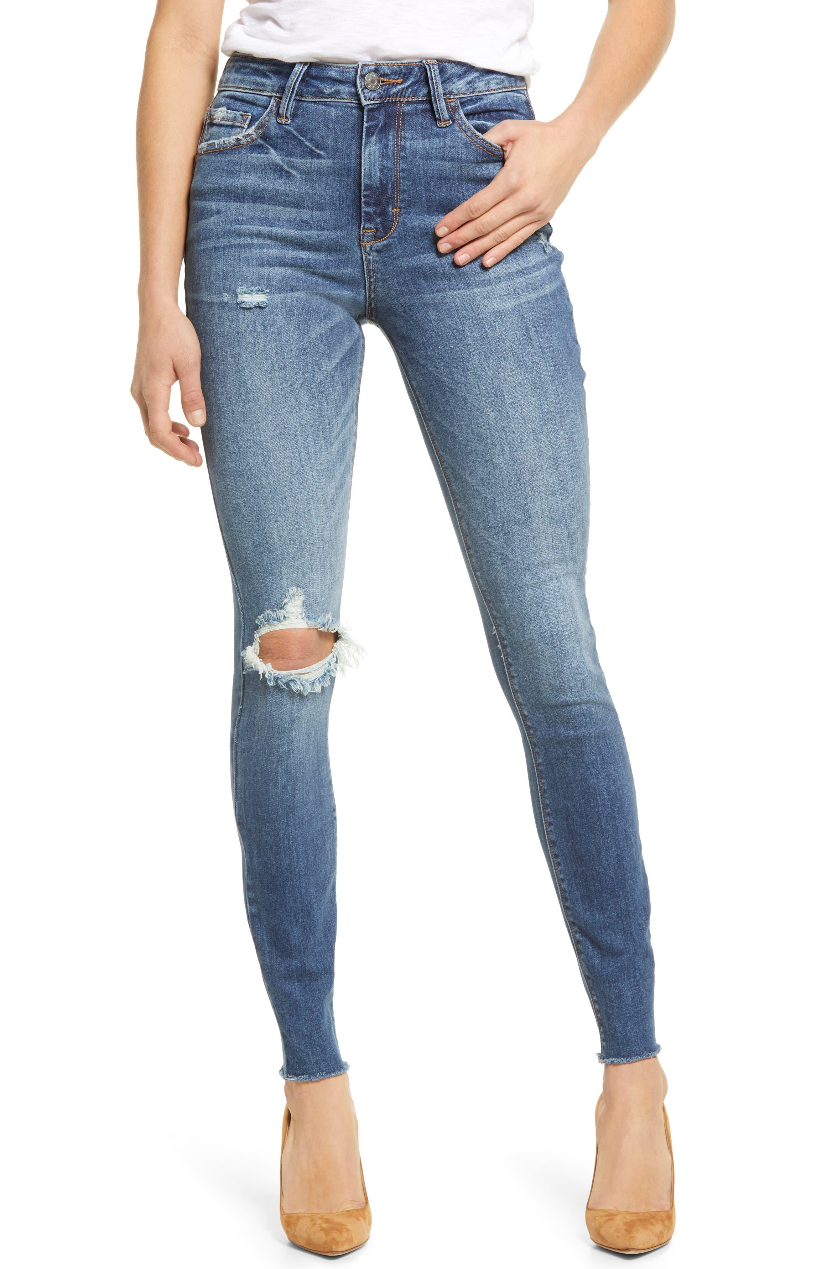 Ripped High Waist Fray Hem Skinny Jeans