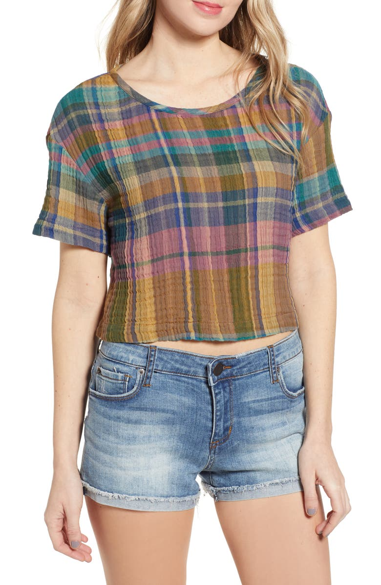 BP. Plaid Woven Crop Tee, Main, color, TEAL ATLANTIC SUN BAKED PLAID