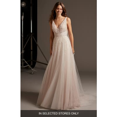 Pronovias Hegemone Embellished Tulle A-Line Wedding Dress, Size - Pink