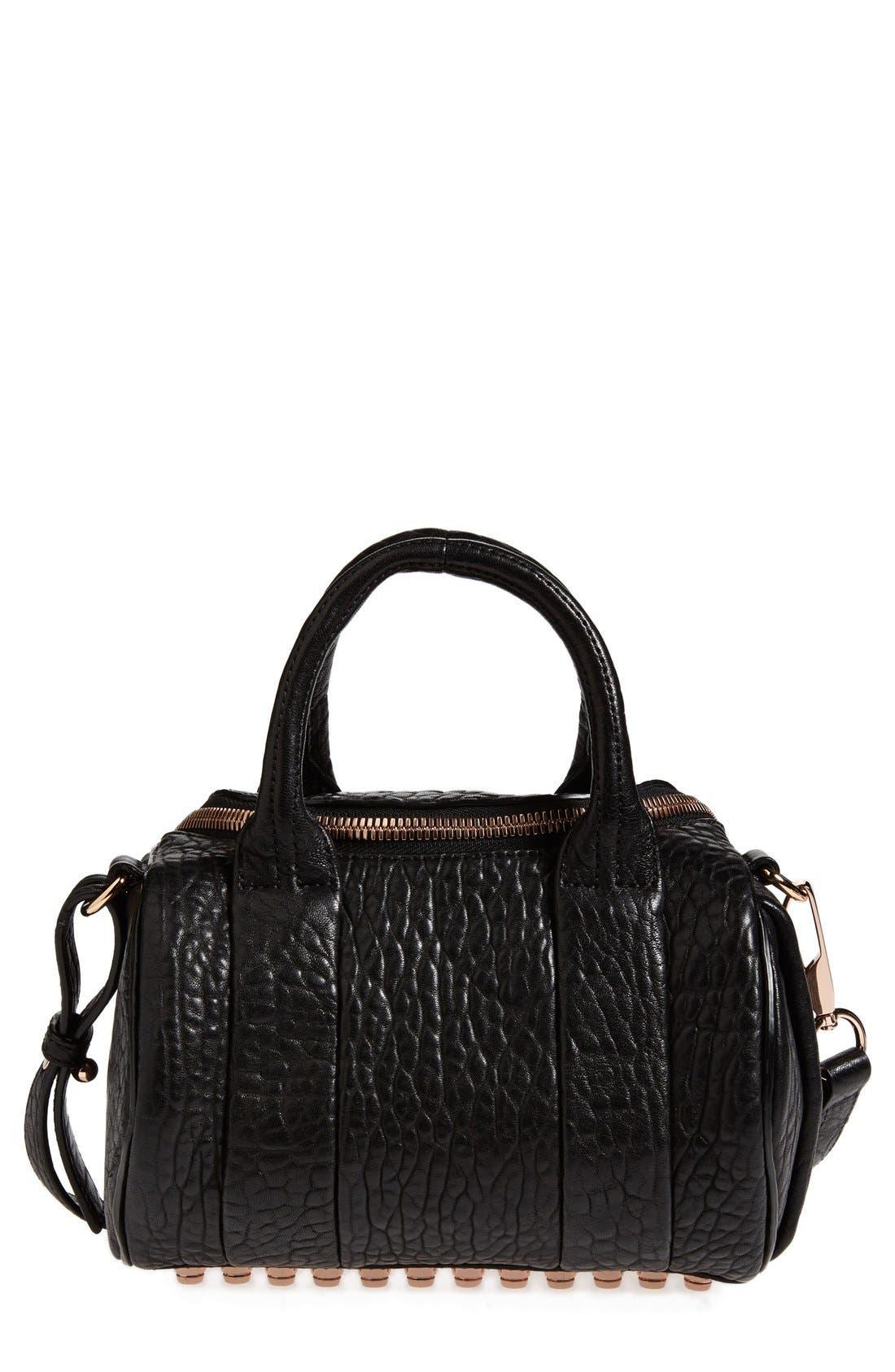 'Mini Rockie - Rose Gold' Leather Crossbody Satchel, Main, color, BLACK