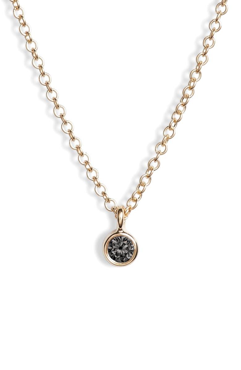 EF COLLECTION Bezel Diamond Pendant Necklace, Main, color, BLACK DIAMOND
