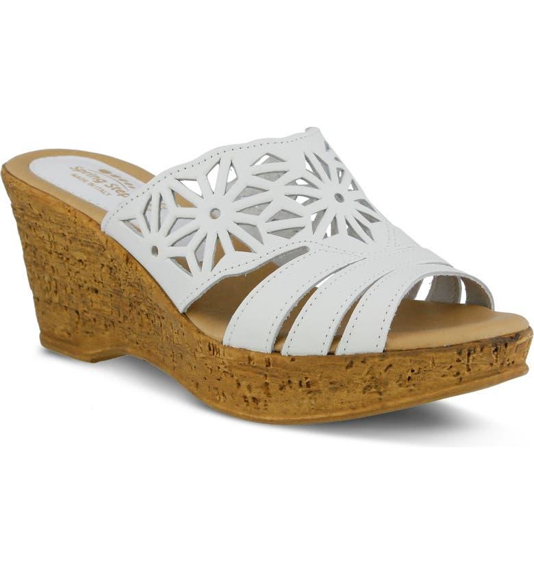 SPRING STEP Dora Wedge Sandal, Main, color, WHITE LEATHER