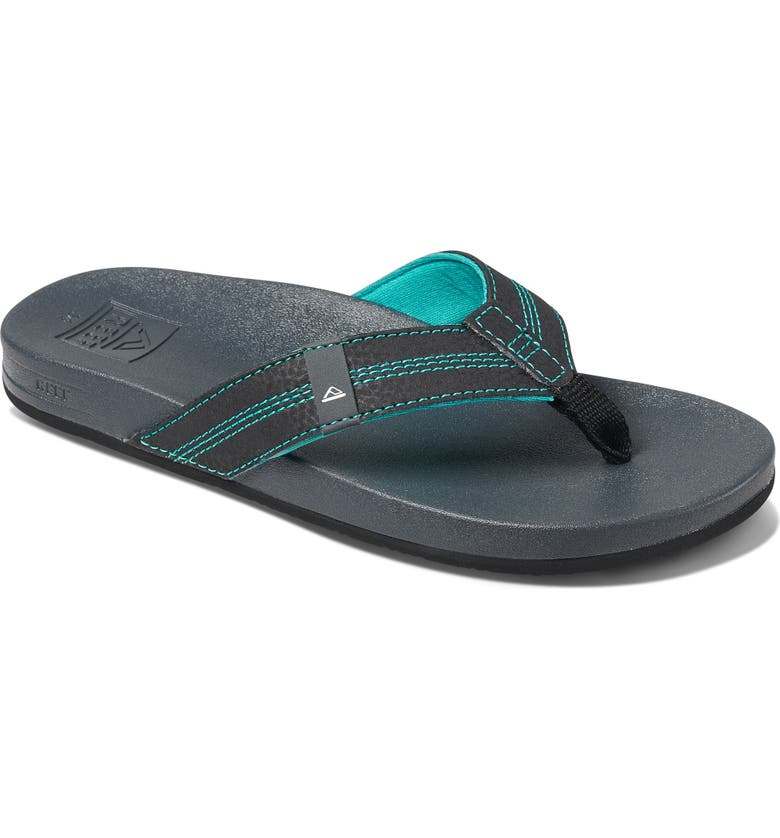 REEF Cushion Bounce Flip Flop, Main, color, BLACK/ BLUE
