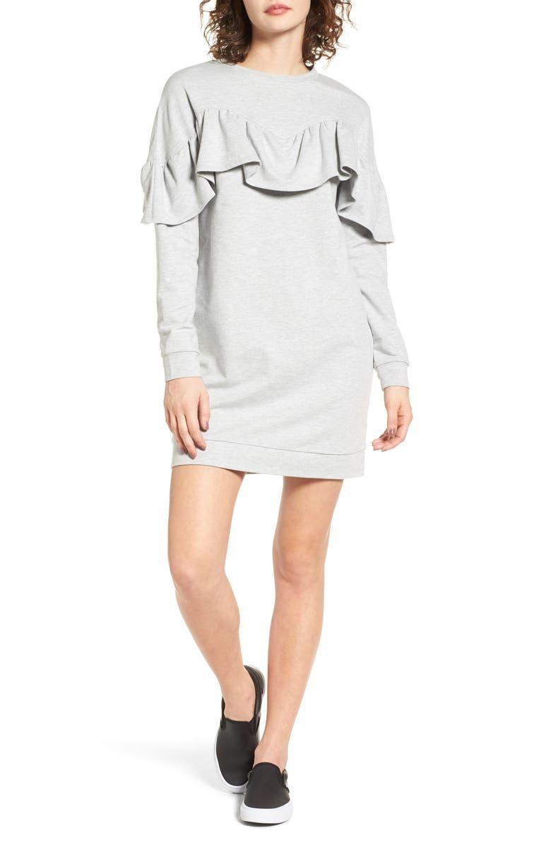 LOVE, FIRE Ruffle Sweatshirt Dress, Main, color, 030
