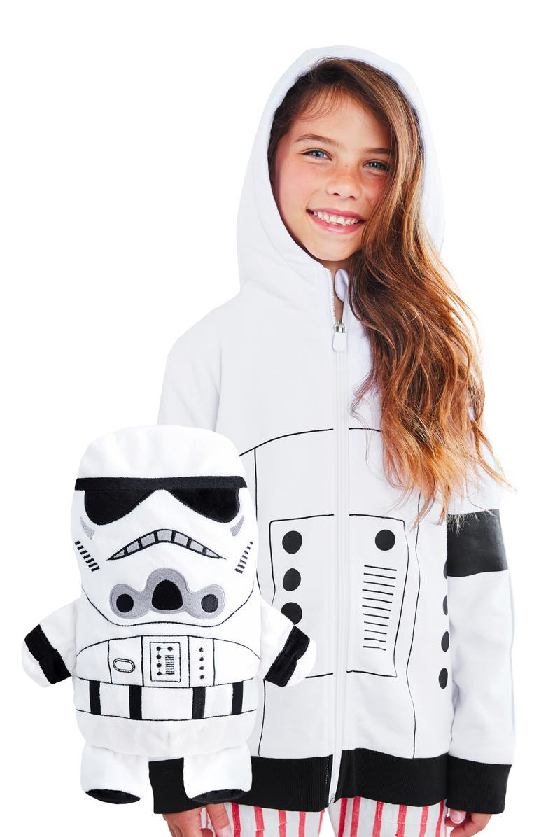 CUBCOATS x Star Wars<sup>™</sup> Storm Trooper 2-in-1 Plush Toy Hoodie, Main, color, WHITE