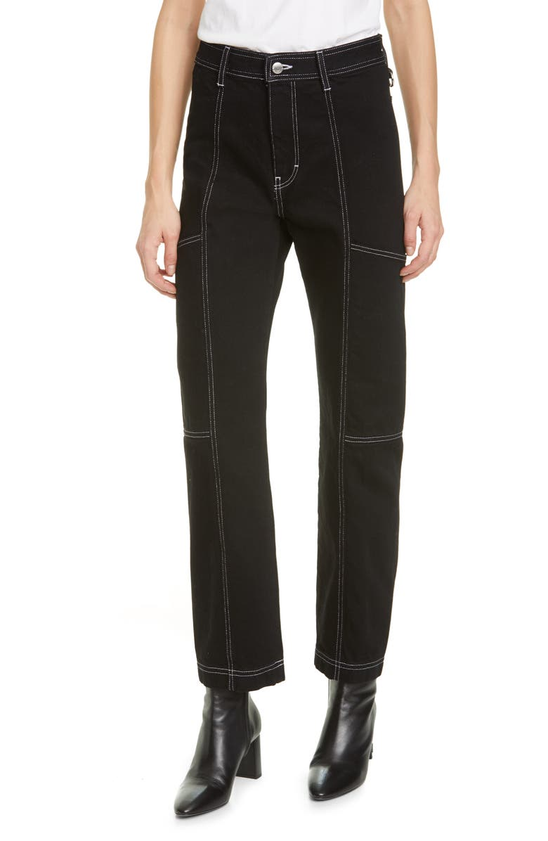 SIMON MILLER Paneled Straight Leg Jeans, Main, color, NIGHT HOUR W WHITE STCH