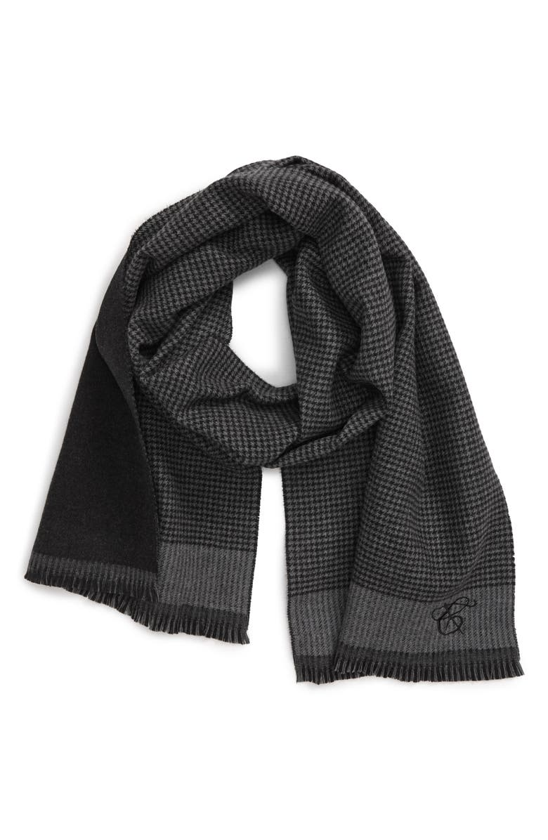 CANALI Houndstooth Check Wool Scarf, Main, color, GREY