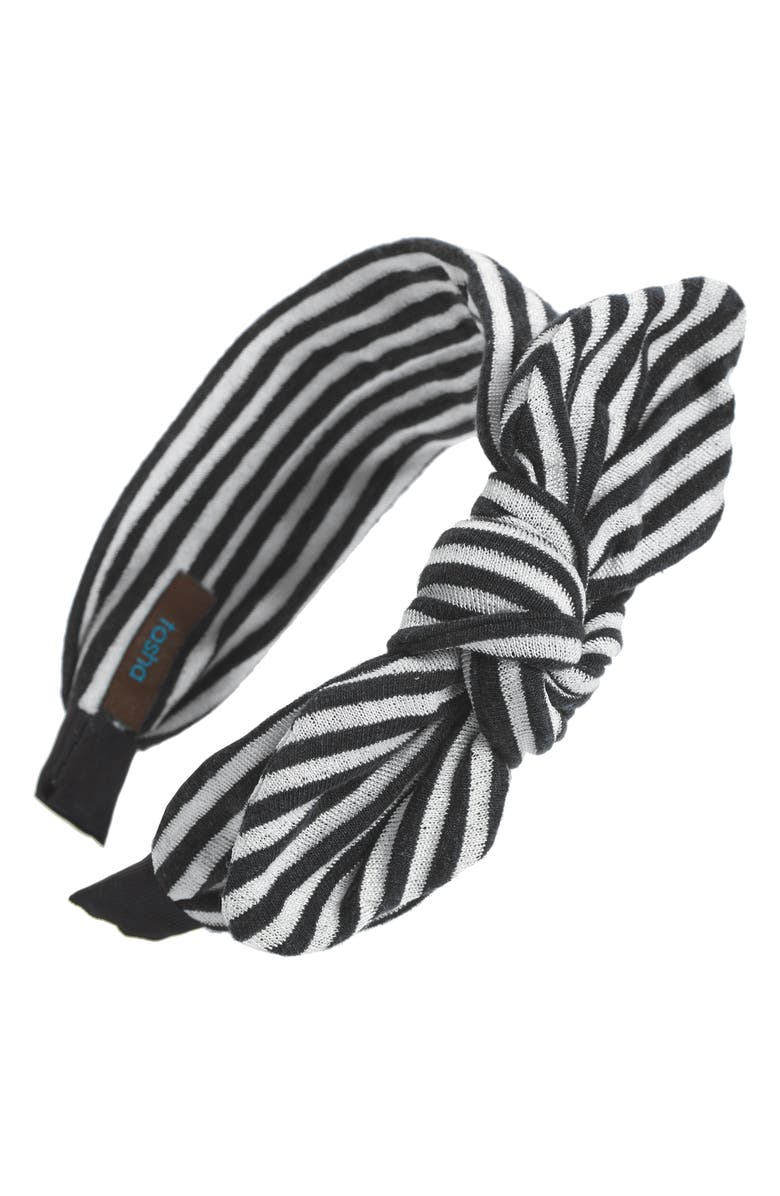TASHA Stripe Bow Headband, Main, color, BLACK