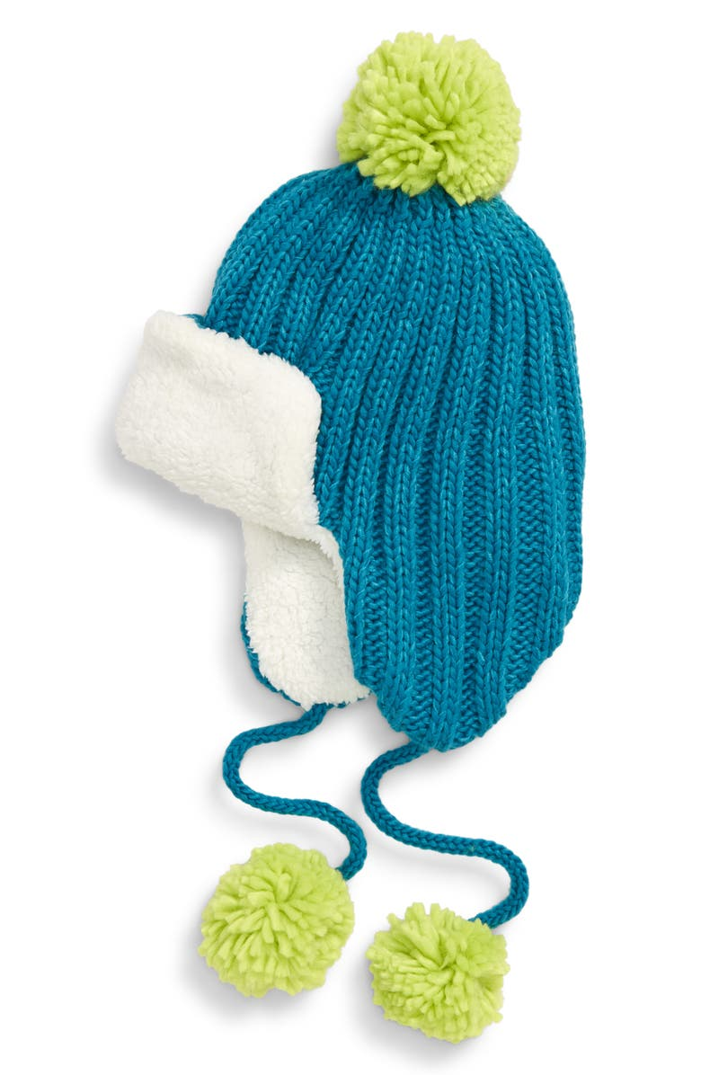 BP. Knit Pompom Trapper Hat, Main, color, GREEN COMBO