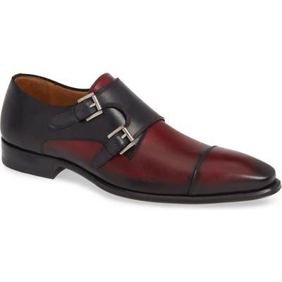 Mezlan Bardem Double Monk Strap Shoe, Burgundy