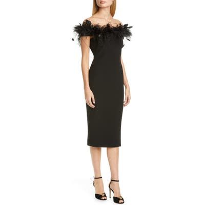 Badgley Mischka Feather Cocktail Dress, Black