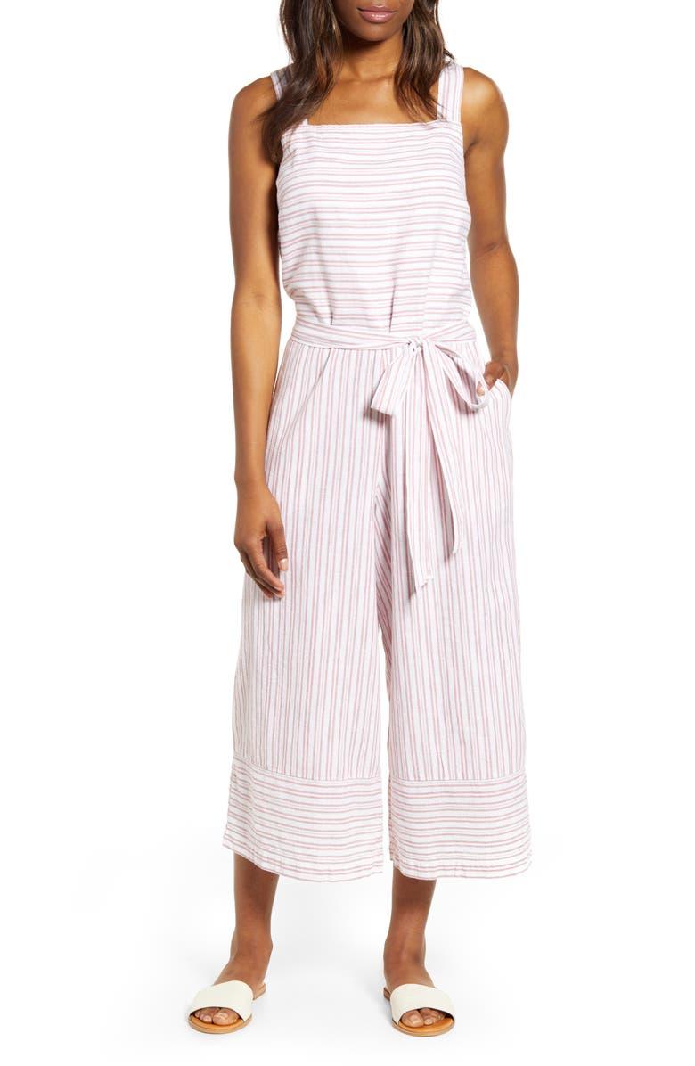 BEACHLUNCHLOUNGE Talia Stripe Cotton & Linen Jumpsuit, Main, color, ROSE