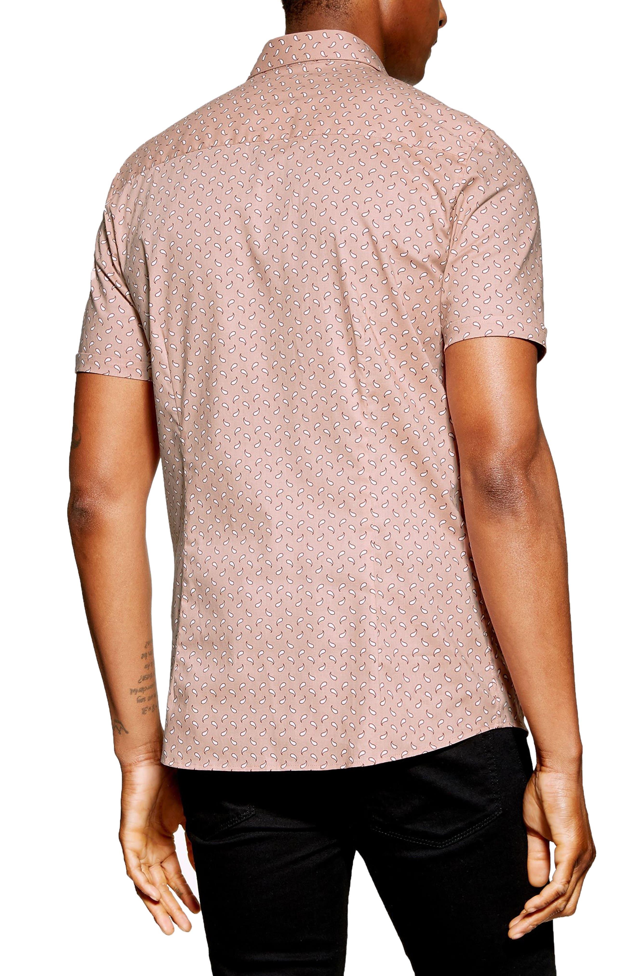 ,                             Stretch Skinny Fit Paisley Print Shirt,                             Alternate thumbnail 3, color,                             PINK MULTI