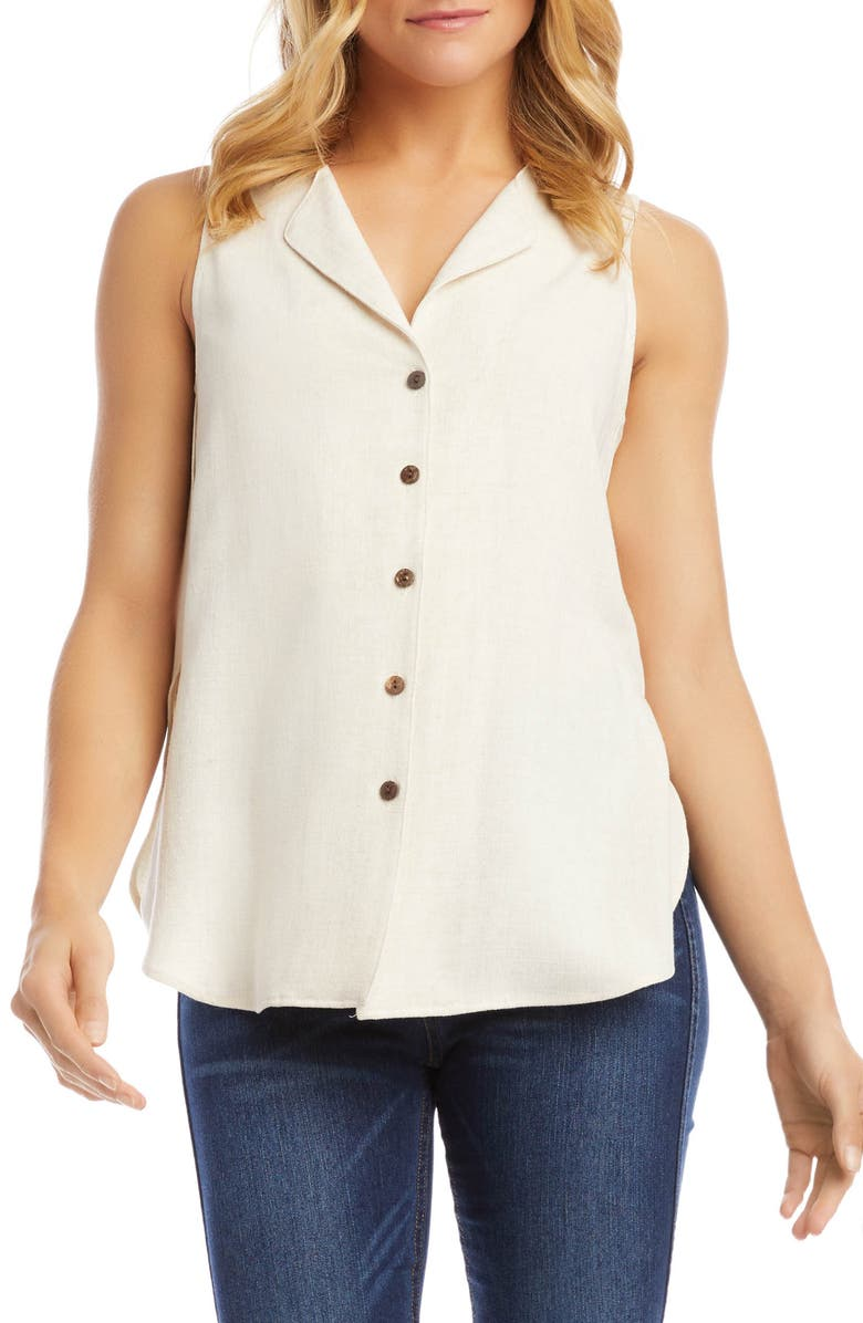 KAREN KANE Button-Up Sleeveless Blouse, Main, color, OATMEAL