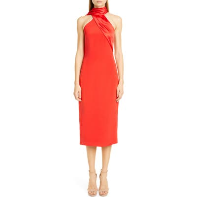 Cushnie Satin Halter Midi Pencil Dress, Red