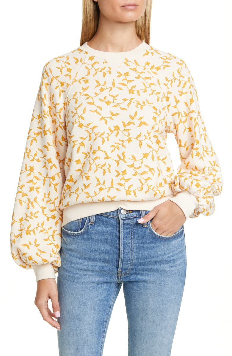 ULLA JOHNSON Ebba Balloon Sleeve Sweatshirt, Main, color, ROSE
