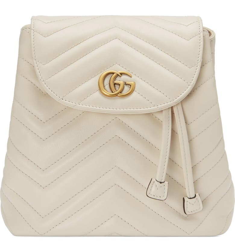 GUCCI GG Marmont 2.0 Matelassé Leather Mini Backpack, Main, color, MYSTIC WHITE