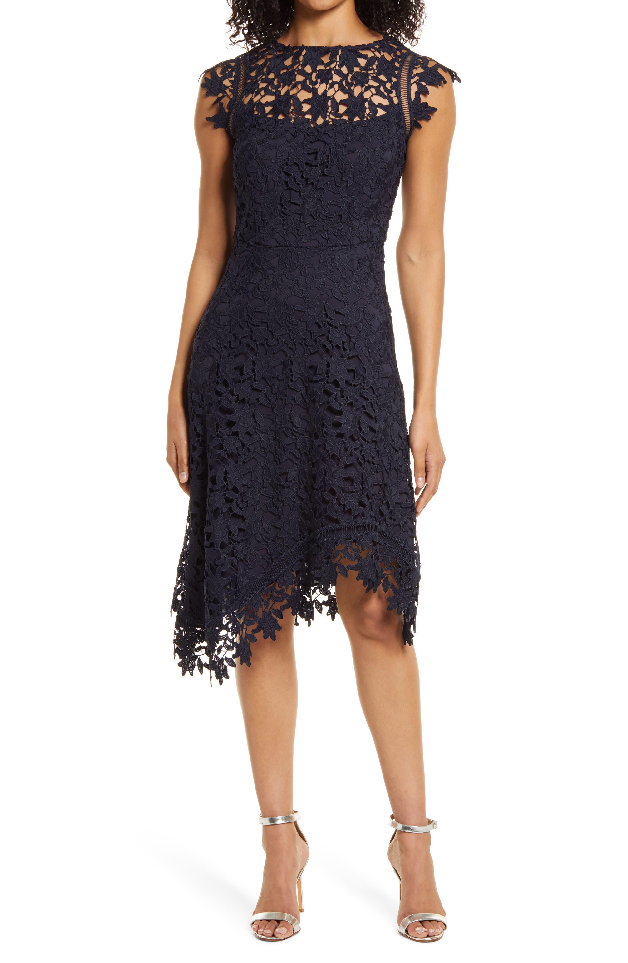 Lace Asymmetric Cocktail Dress