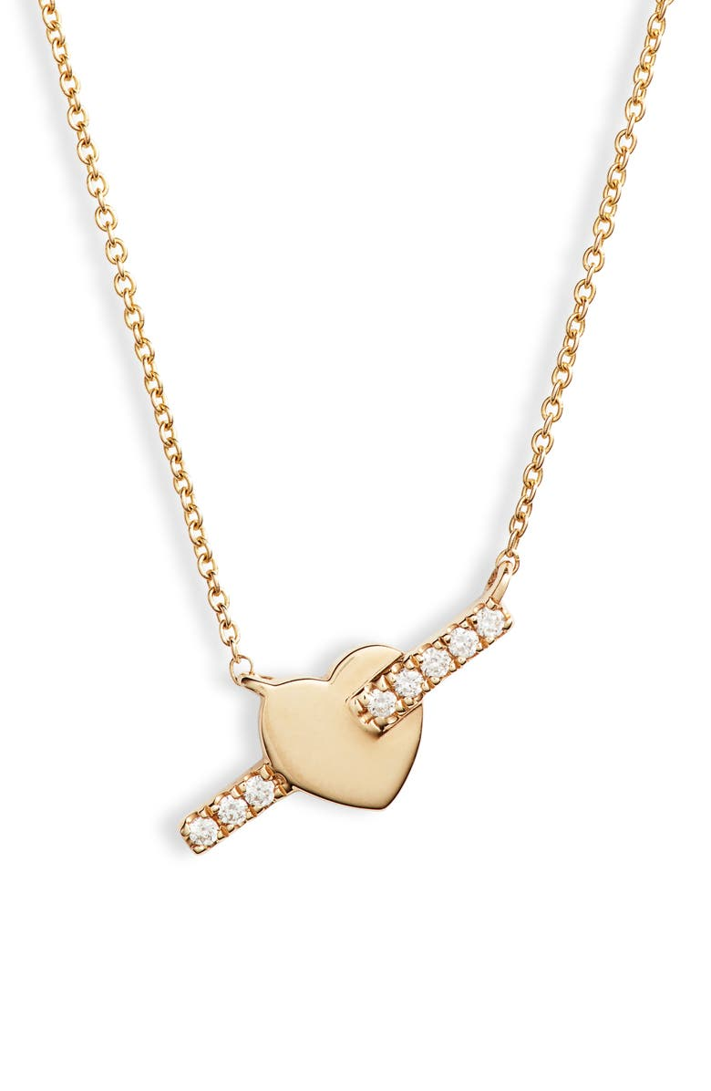 DANA REBECCA DESIGNS Livi Gold Heart Bar Diamond Necklace, Main, color, YELLOW GOLD/ DIAMOND