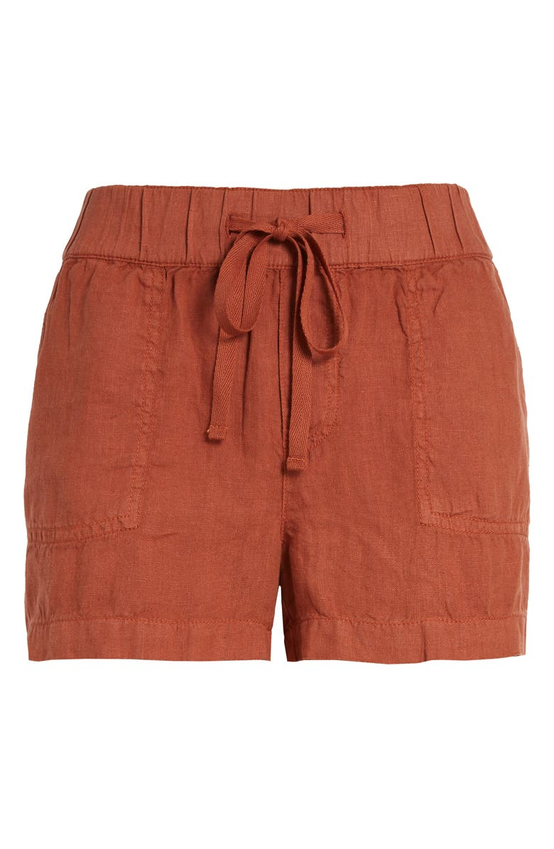 CASLON<SUP>®</SUP> Linen Shorts, Main, color, RUST SEQUOIA