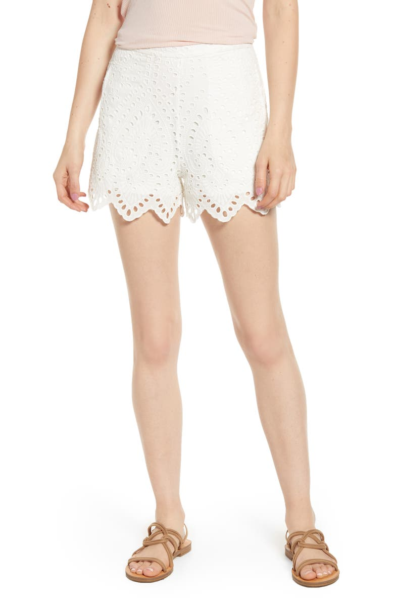 BISHOP + YOUNG Cassidy Eyelet Shorts, Main, color, WHITE