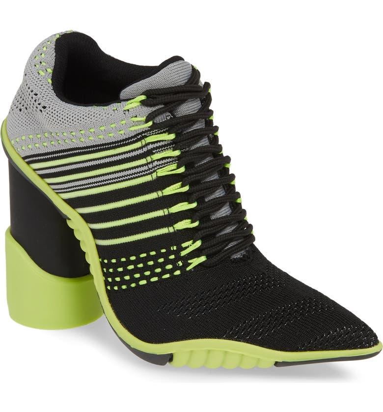 JEFFREY CAMPBELL Sport Block Heel Bootie, Main, color, BLACK GREY NEON YELLOW FABRIC