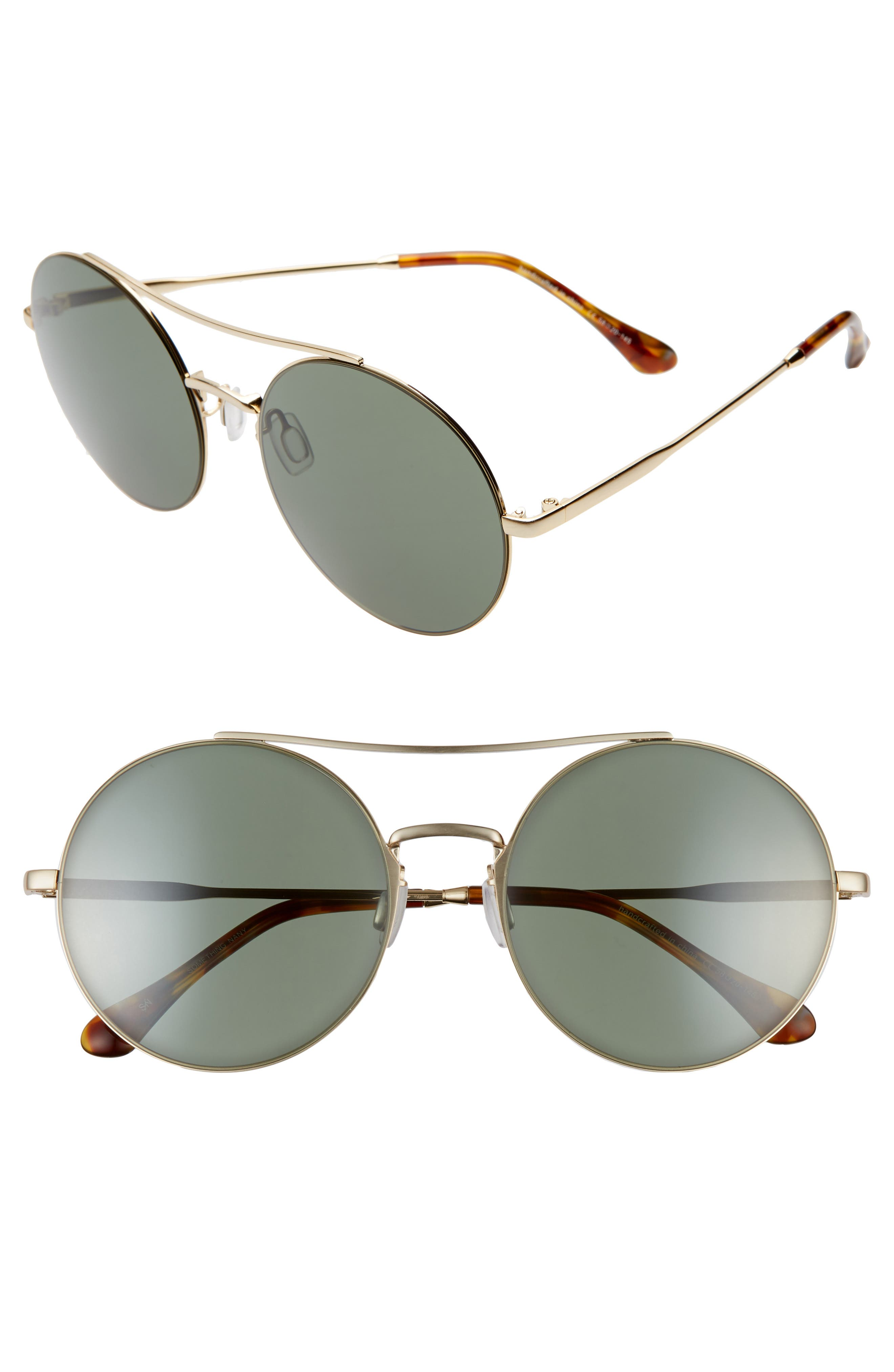 Something Navy 5m Round Aviator Sunglasses - Gold/ Green (Nordstrom Exclusive)