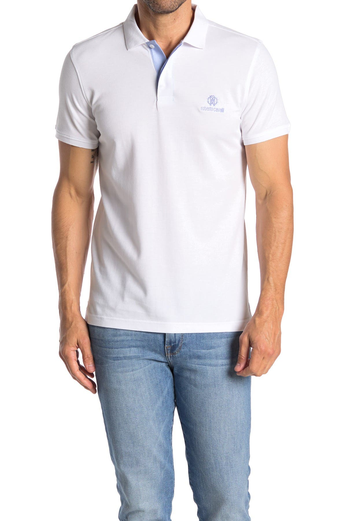 Image of Roberto Cavalli Embroidered Logo Short Sleeve Polo