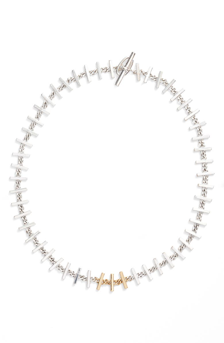 ALLSAINTS Bar Collar Necklace, Main, color, SILVER/ GOLD