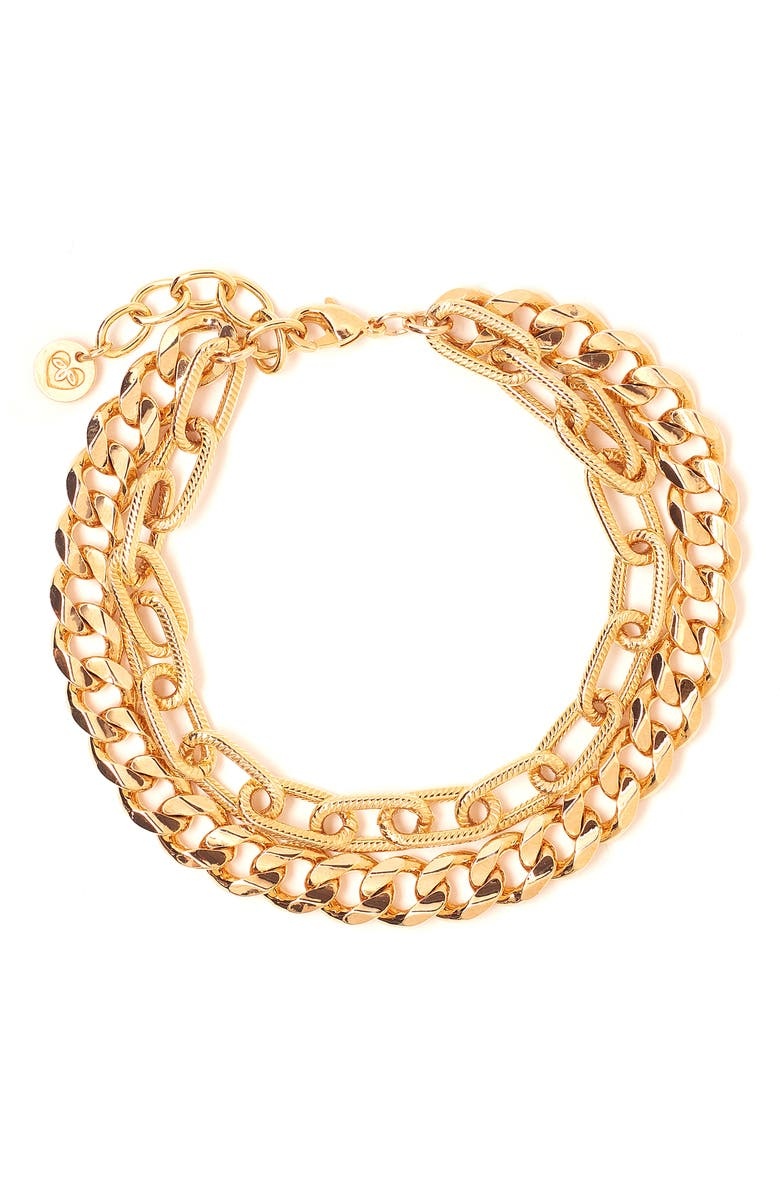 TESS + TRICIA Quinn Layered Bracelet, Main, color, GOLD
