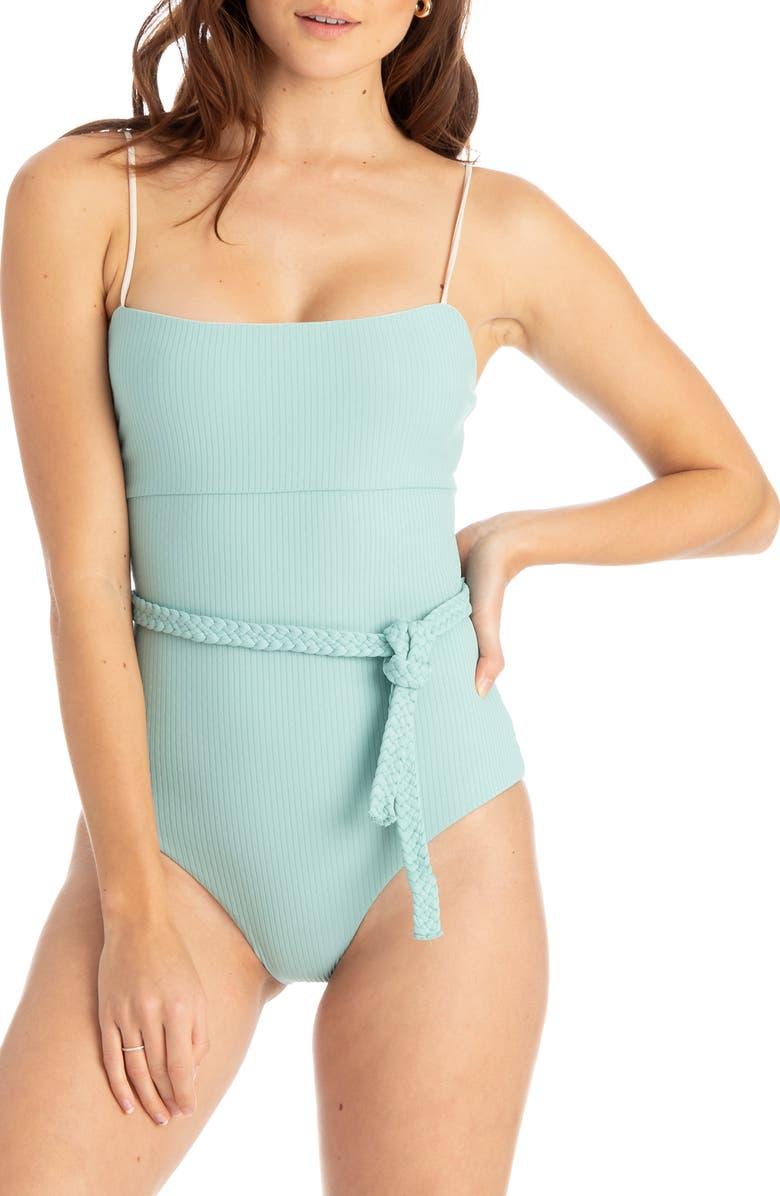 TAVIK Ribbed Belted One-Piece Swimsuit, Main, color, AQUIFER BLUE