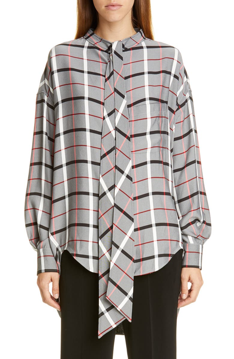 BALENCIAGA Tie Neck Plaid Swing Shirt, Main, color, WHITE/ BLACK