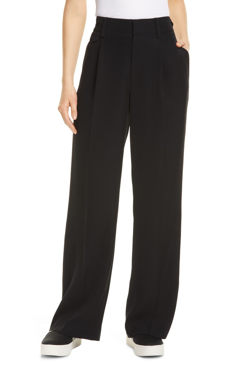 VINCE Relaxed Wide Leg Trousers, Main, color, BLACK